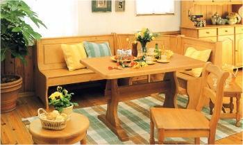 カントリー家具のベンチダイニングテーブルセット